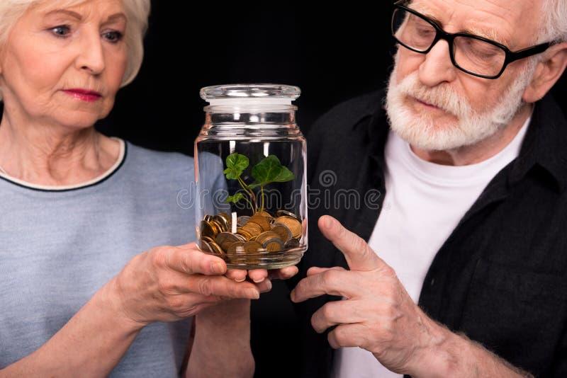 Ajouter aux pièces de monnaie et usine dans le pot image libre de droits