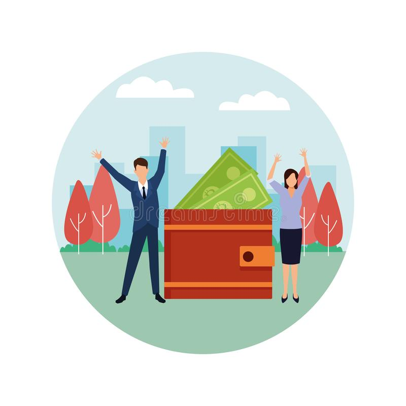 Ajouter d'affaires à l'icône ronde de portefeuille et de factures illustration libre de droits