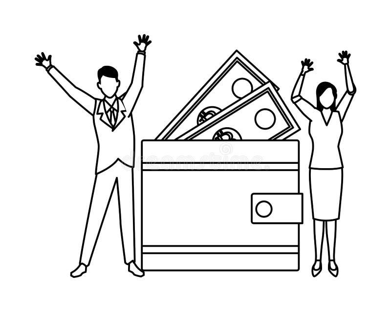 Ajouter d'affaires au portefeuille et factures noires et blanches illustration de vecteur
