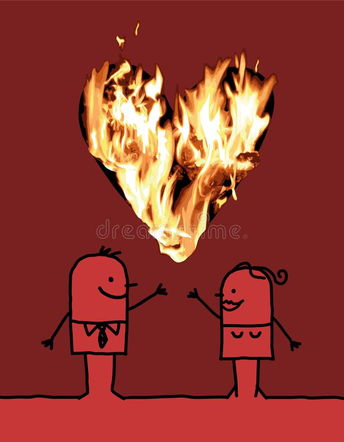 Ajouter de bande dessinée à un grand coeur brûlant illustration libre de droits