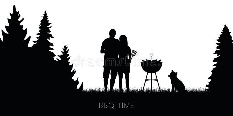 Ajouter de temps de BBQ au barbecue de chien et de bouilloire en silhouette de for?t illustration de vecteur