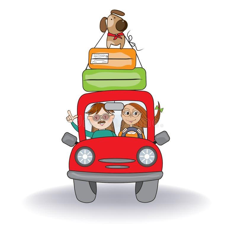 Ajouter heureux à leur chien voyageant avec la voiture rouge drôle Affiche de vacances d'?t? image libre de droits