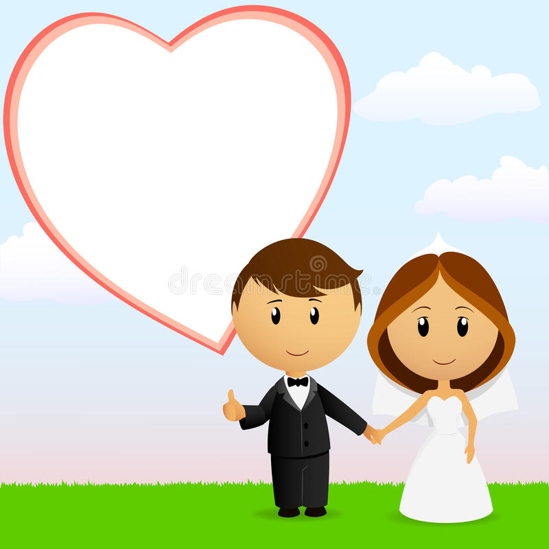 Ajouter Mignons De Mariage De Dessin Animé Au Fond Photo libre de droits