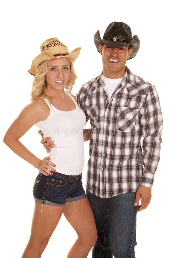 Ajouter occidentaux chacun des deux aux chapeaux photos libres de droits