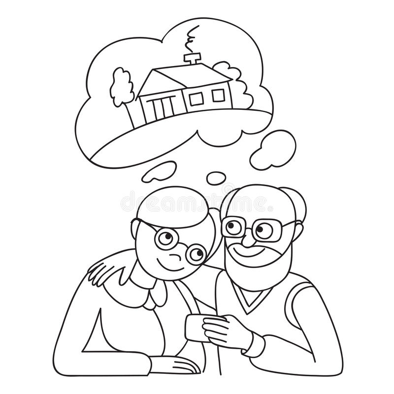 Ajouter supérieurs à la carte de crédit rêvant de la maison Illustration de concept d'opérations bancaires illustration de vecteur