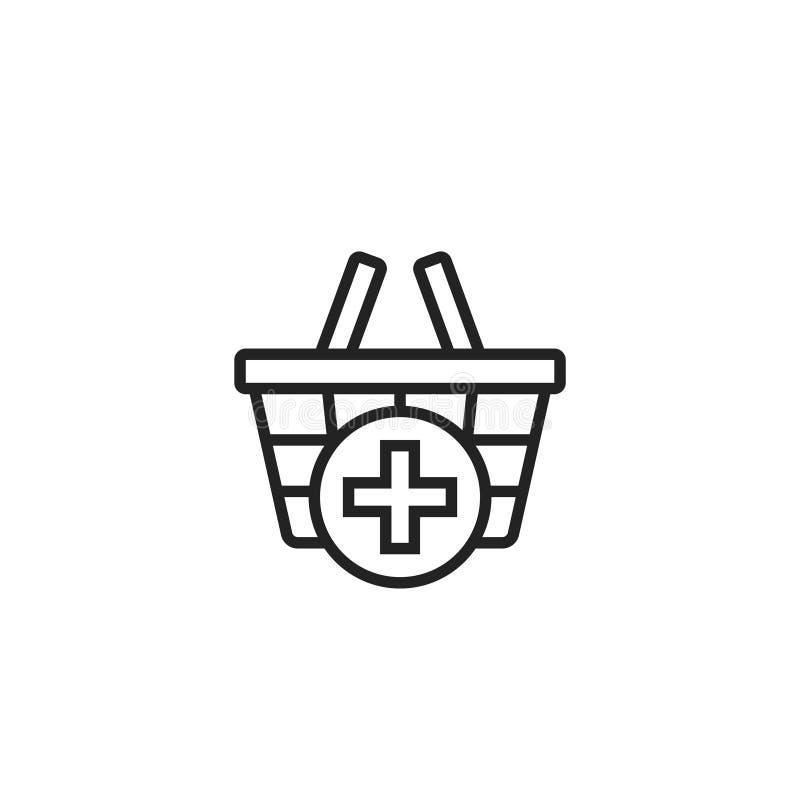 Ajoutez à l'icône, au symbole ou au logo de vecteur d'ensemble de caddie illustration stock