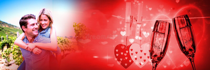 Ajoutez donner sur le dos à la transition d'amour du ` s de valentine et les verres et les coeurs de champagne photos stock