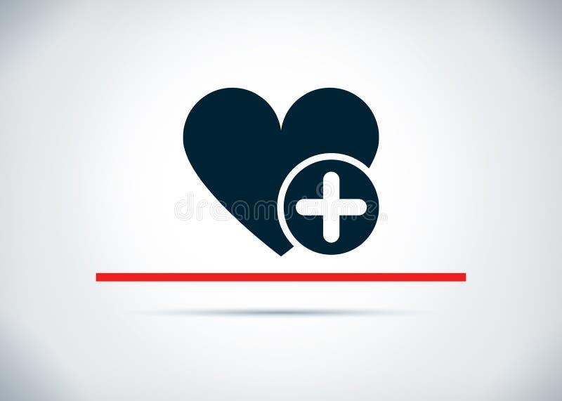 Ajoutez l'illustration plate de conception de fond de coeur d'abrégé sur préféré icône illustration libre de droits