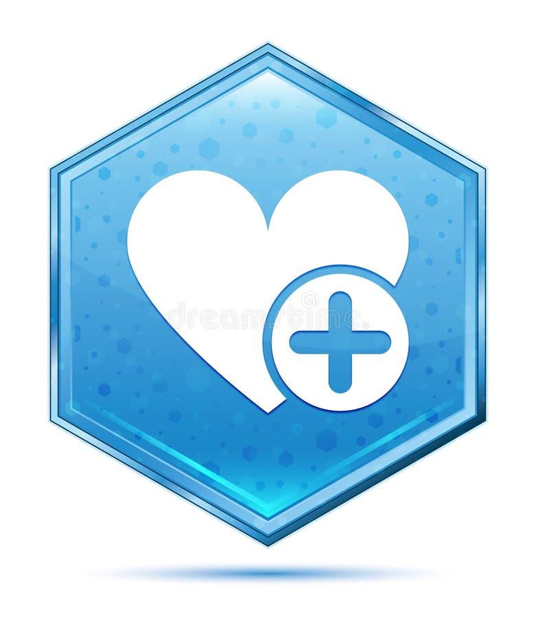Ajoutez le bouton bleu en cristal d'hexagone d'icône préférée de coeur illustration stock