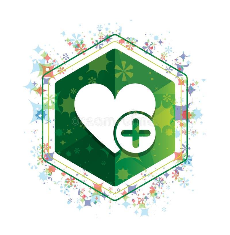 Ajoutez le bouton floral d'hexagone de vert de modèle d'usines d'icône préférée de coeur illustration de vecteur