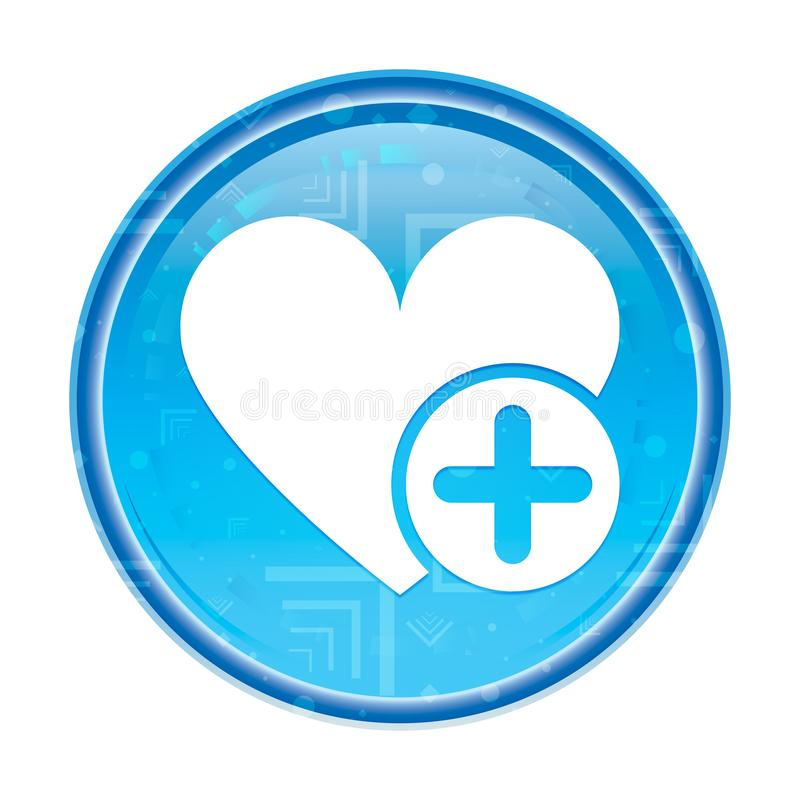 Ajoutez le bouton rond bleu floral d'icône préférée de coeur illustration libre de droits
