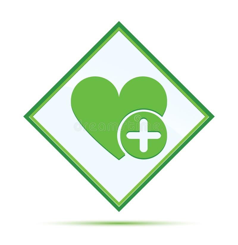 Ajoutez le bouton vert abstrait moderne de diamant d'icône préférée de coeur illustration libre de droits
