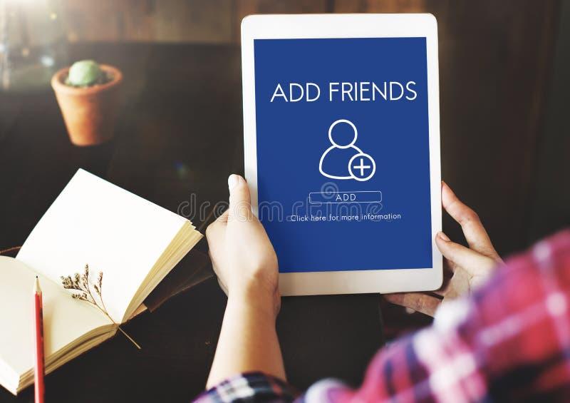 Ajoutez le concept social de graphique de media d'amis photographie stock libre de droits