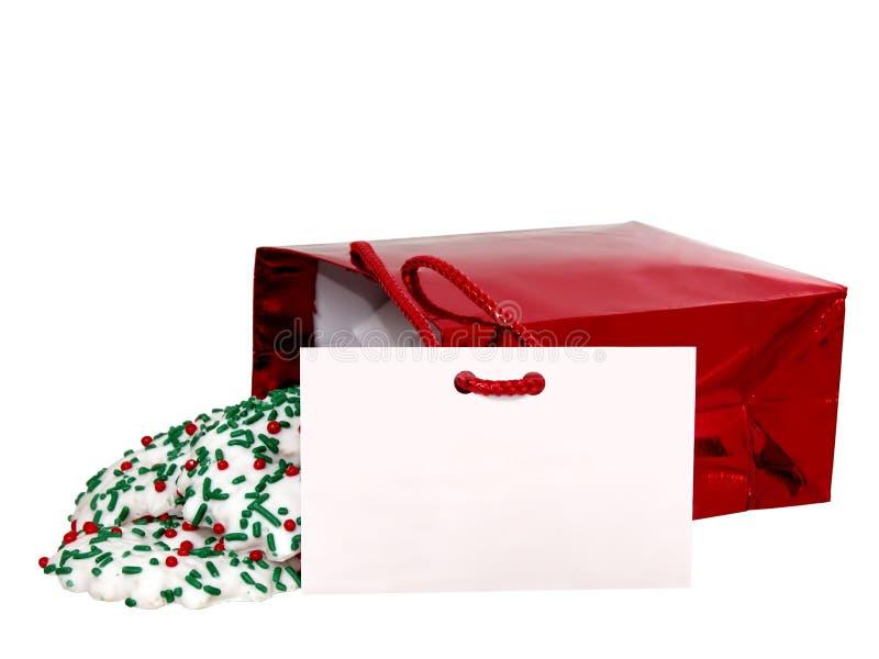 Ajoutez le texte (carte et biscuits de cadeau) sur le blanc image libre de droits