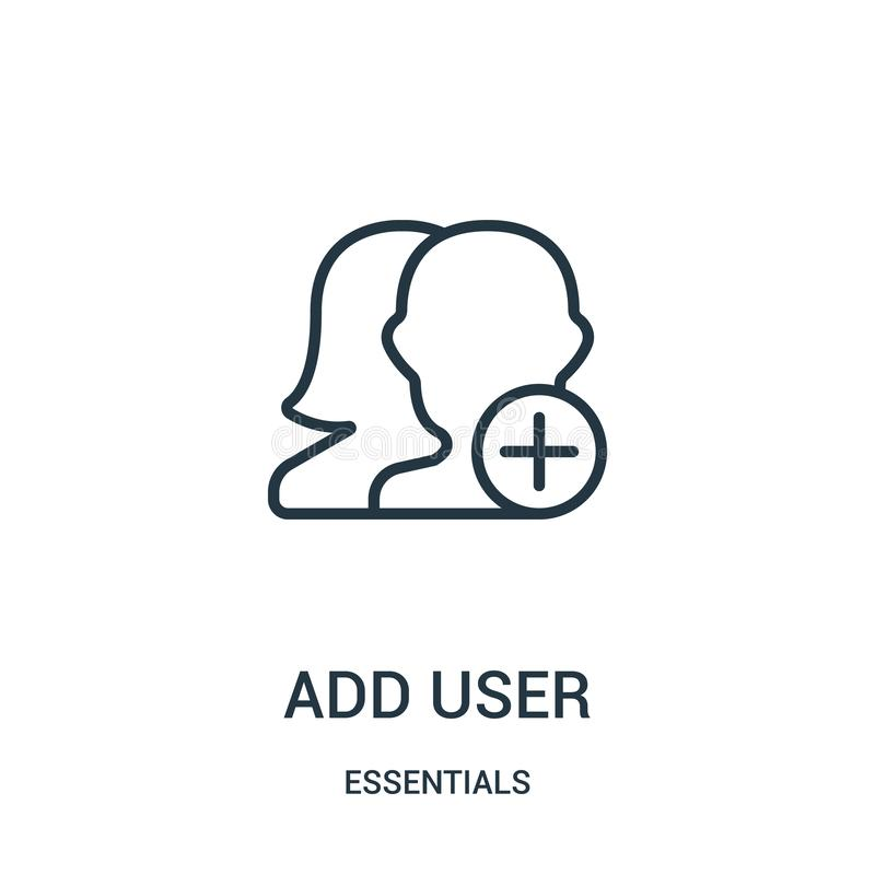 ajoutez le vecteur d'icône d'utilisateur de la collection de bases La ligne mince ajoutent l'illustration de vecteur d'icône d'en illustration stock