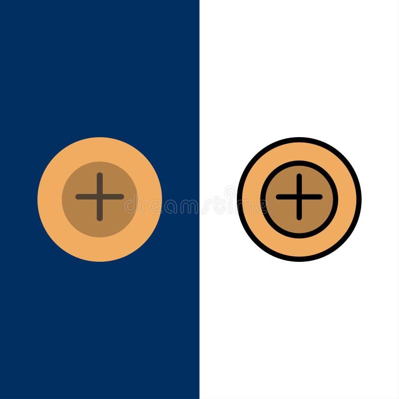 Ajoutez, plus, plus des icônes L'appartement et la ligne icône remplie ont placé le fond bleu de vecteur illustration stock