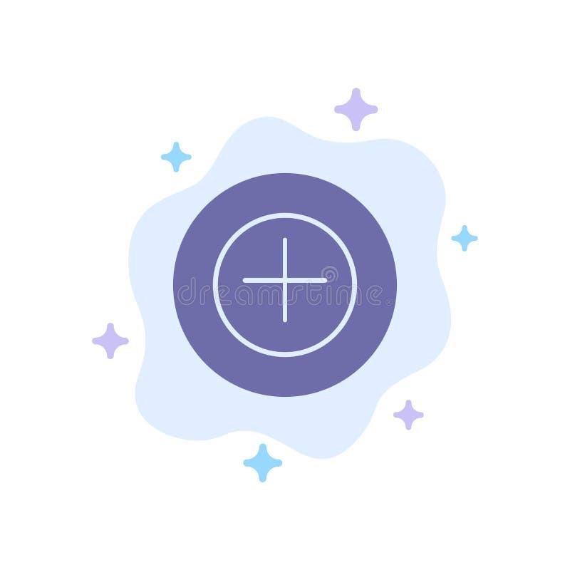 Ajoutez, plus, plus l'icône bleue sur le fond abstrait de nuage illustration de vecteur