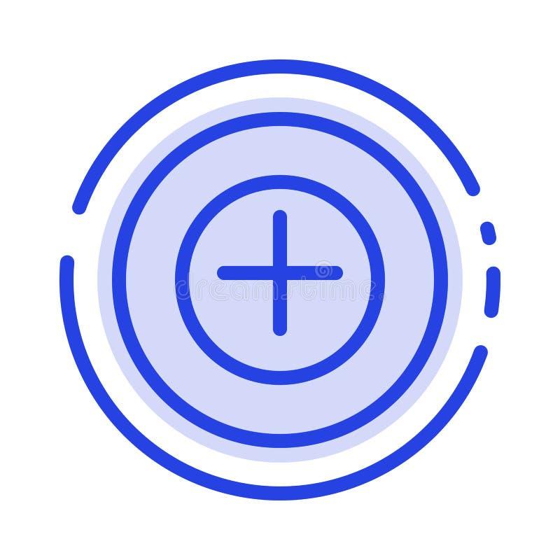 Ajoutez, plus, plus la ligne pointillée bleue ligne icône illustration de vecteur