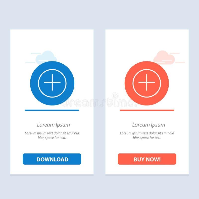 Ajoutez, plus, plus le téléchargement bleu et rouge et achetez maintenant le calibre de carte de gadget de Web illustration stock
