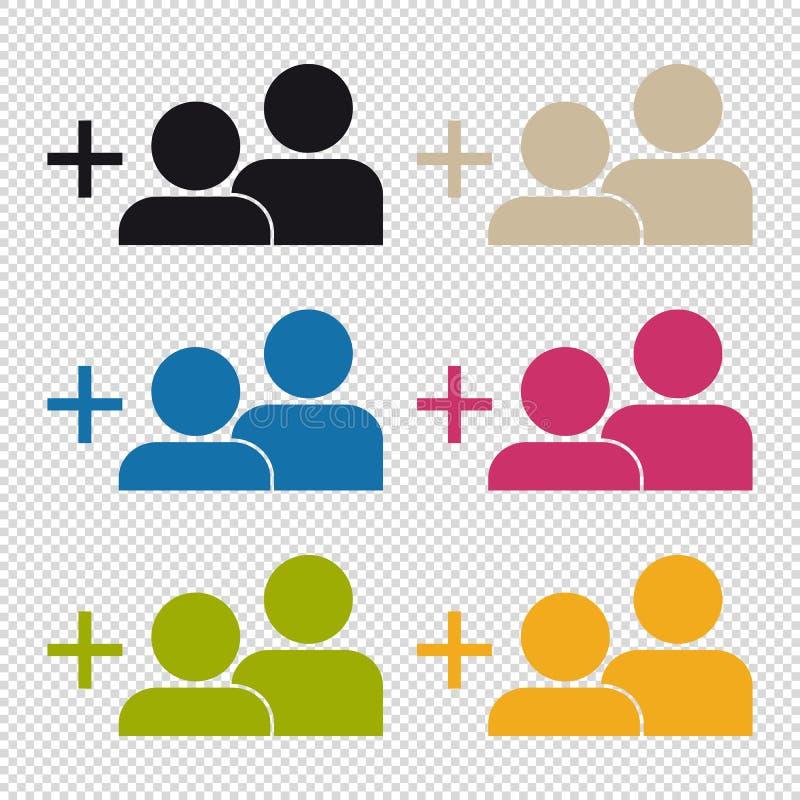 Ajoutez une icône d'ami - illustration colorée de vecteur - d'isolement sur le fond transparent illustration stock