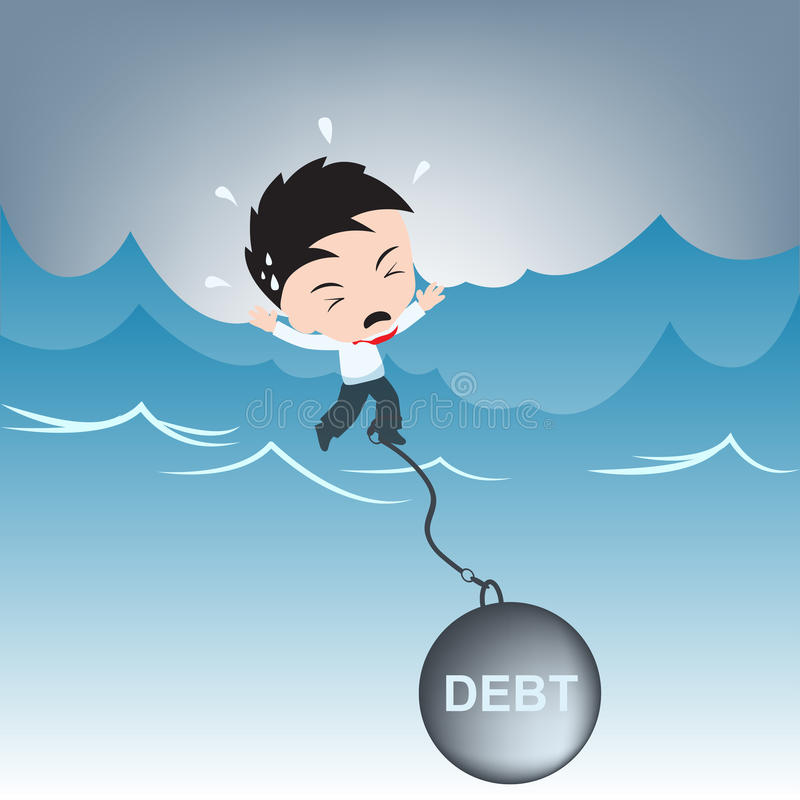 Ajuda da necessidade do homem de negócios com peso da dívida na água, vetor financeiro da ilustração do conceito no projeto liso fotos de stock royalty free