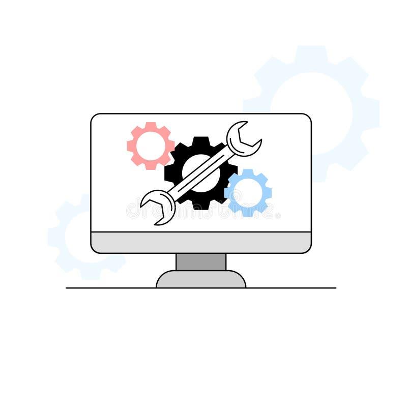 Ajuda da tecnologia e conceito de manutenção ilustração royalty free