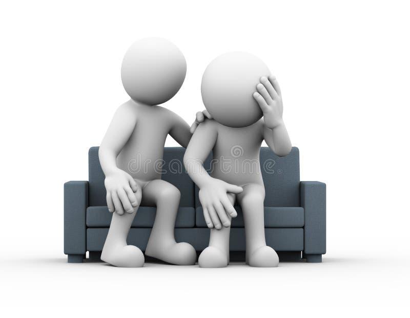ajuda de apoio do homem 3d a pessoa triste deprimida ilustração stock
