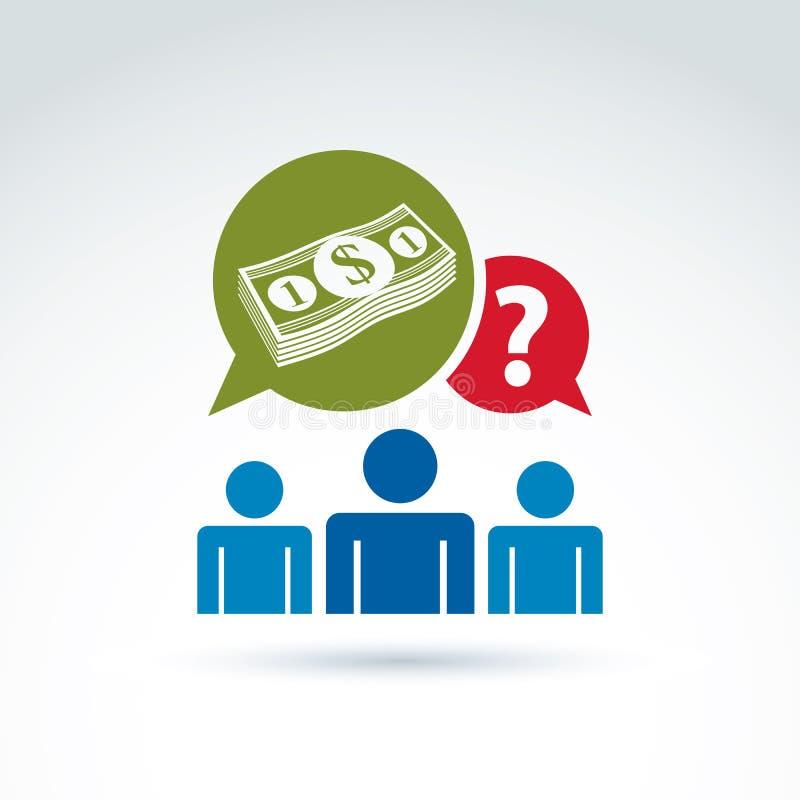Ajuda do apoio da ajuda econômica e ico de consulta do tema do dinheiro ilustração royalty free