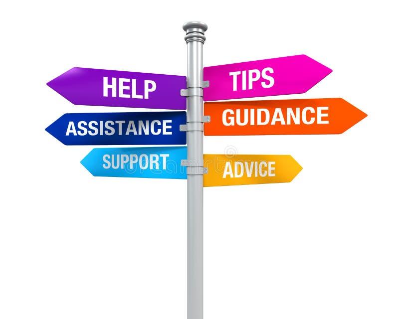 A ajuda do apoio dos sentidos do sinal derruba o auxílio da orientação do conselho ilustração do vetor