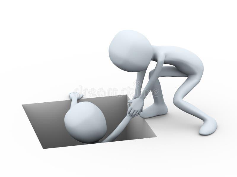 ajuda do homem 3d que puxa uma outra pessoa que toma do furo ilustração do vetor