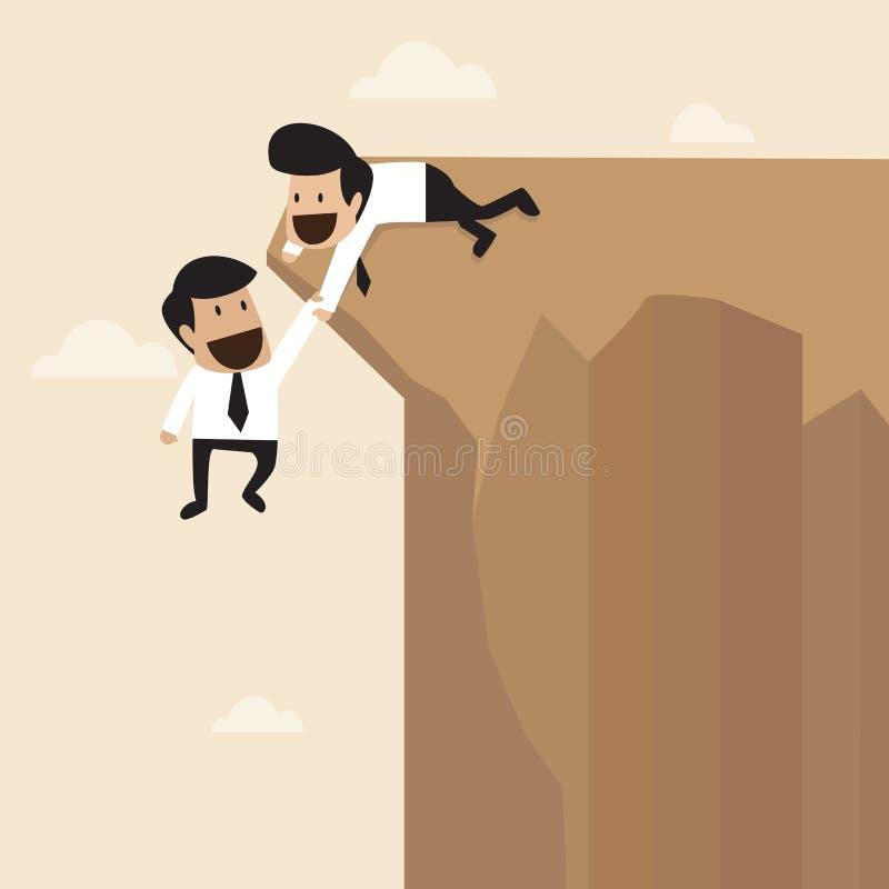 Ajuda do homem de negócios para puxar outra da parte inferior do cl ilustração stock