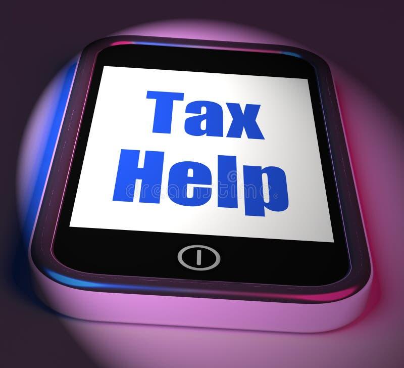 A ajuda do imposto no telefone indica o conselho da tributação em linha ilustração stock