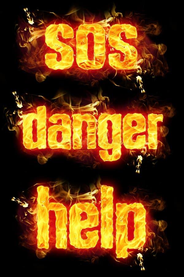 Ajuda do perigo do fogo SOS ilustração stock