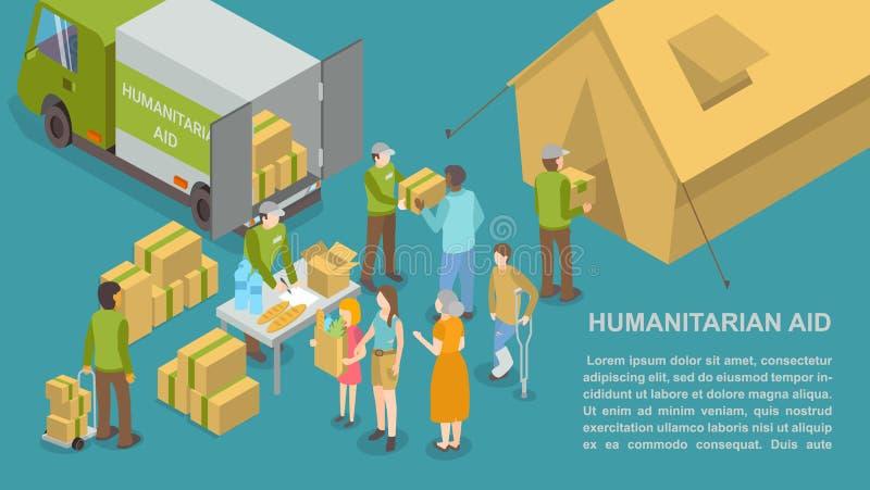 Ajuda e auxílio humanitários para o vetor do cartaz dos povos ilustração do vetor