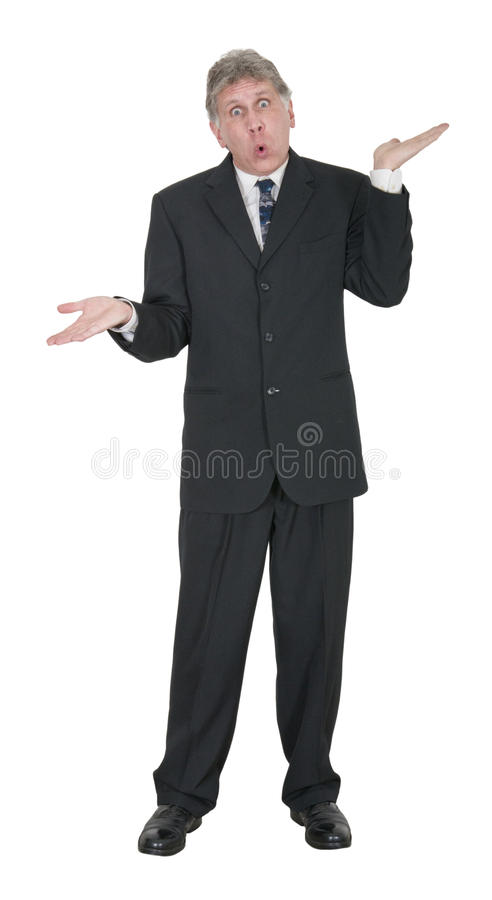 Ajuda procurando do homem de negócios à nora, respostas, isoladas foto de stock royalty free