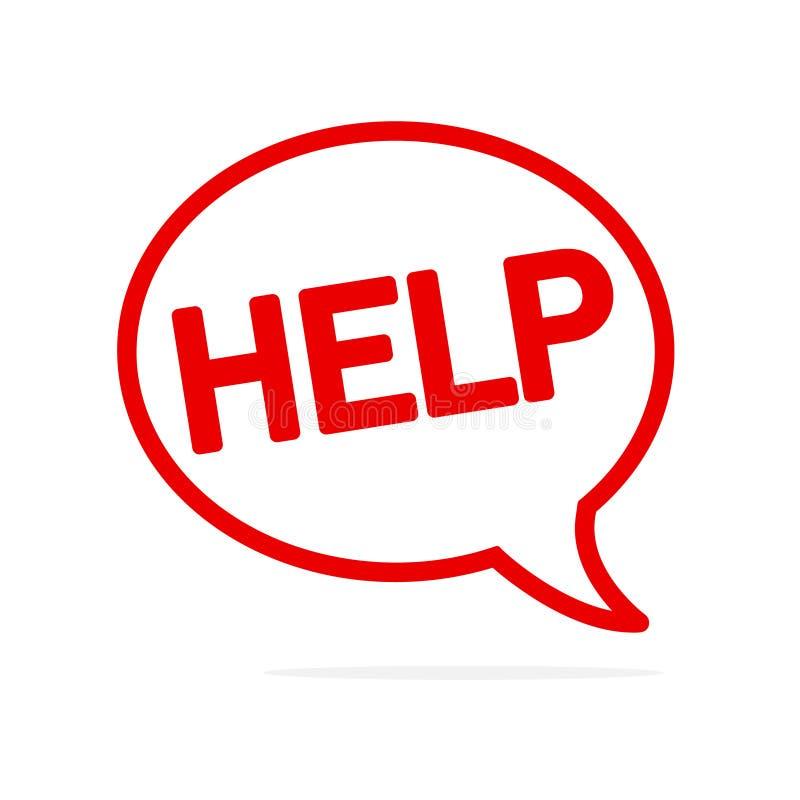Ajuda! Símbolo do apoio na bolha do discurso! Projeto liso do ícone do vetor Comunicações e trabalhos em rede em linha ilustração do vetor