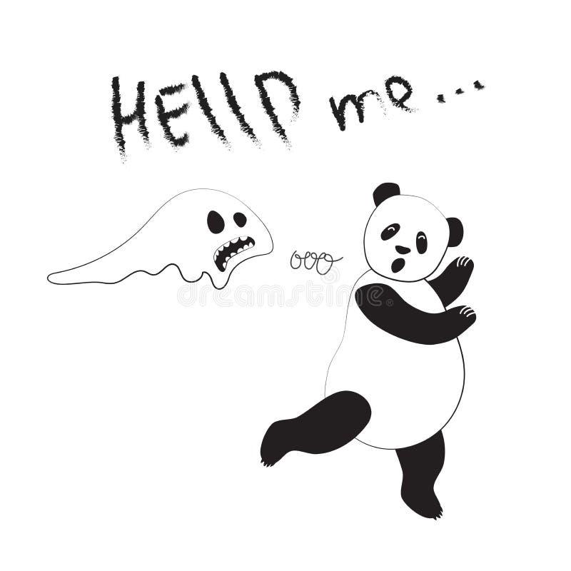 Ajuda tipográfica do slogan Corridas da panda longe dos fantasmas Ilustração do vetor de um cartão no estilo cômico ilustração stock