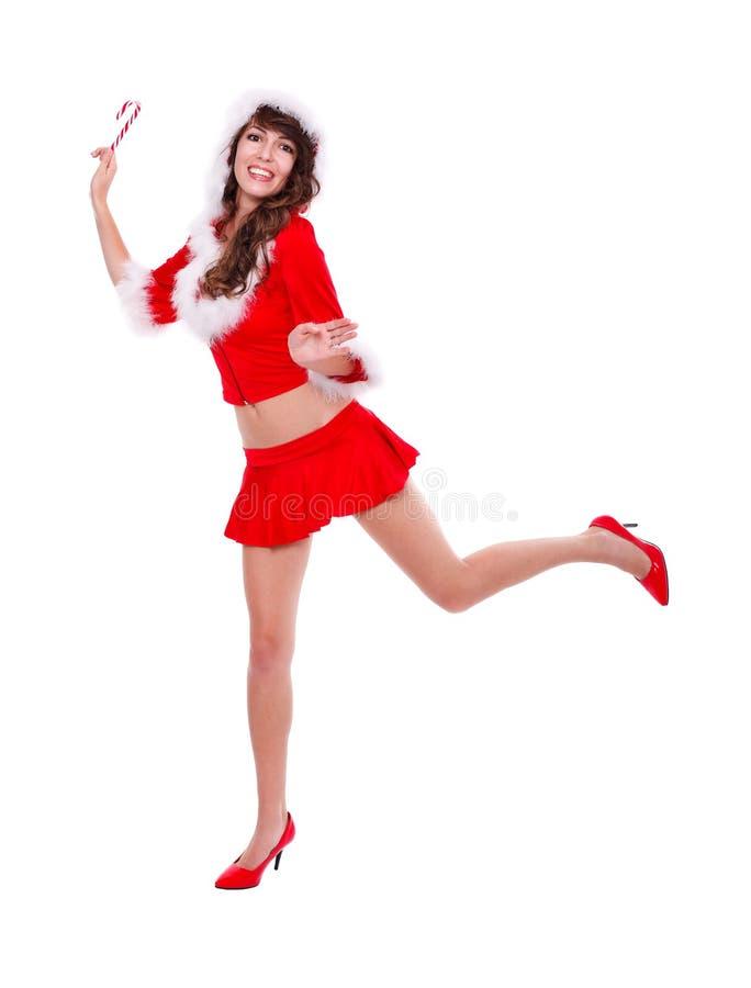 Ajudante alegre de Santa com doces imagens de stock
