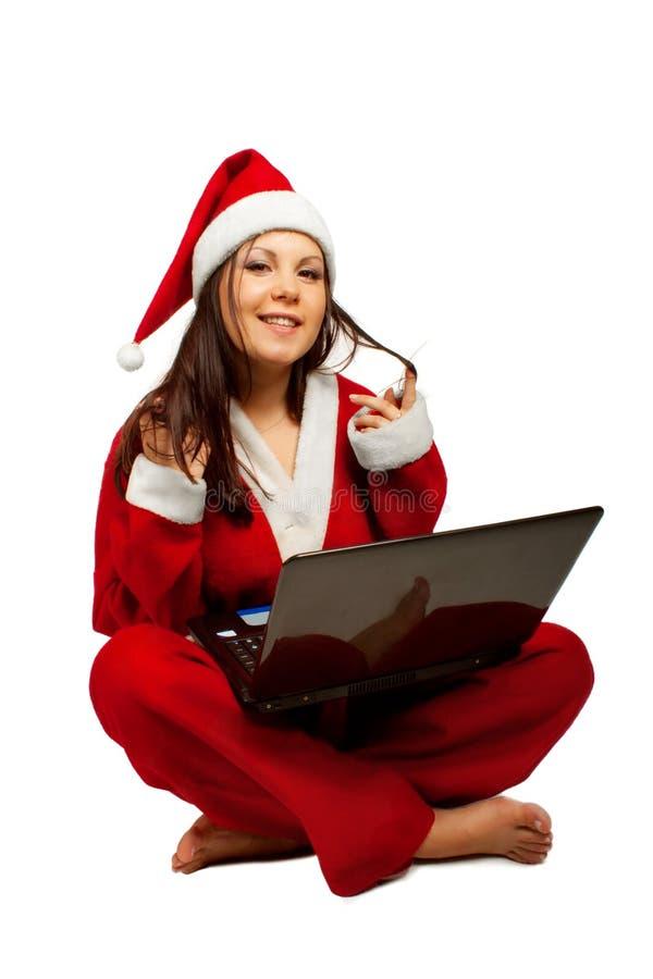 Ajudante de Santa com portátil fotografia de stock royalty free