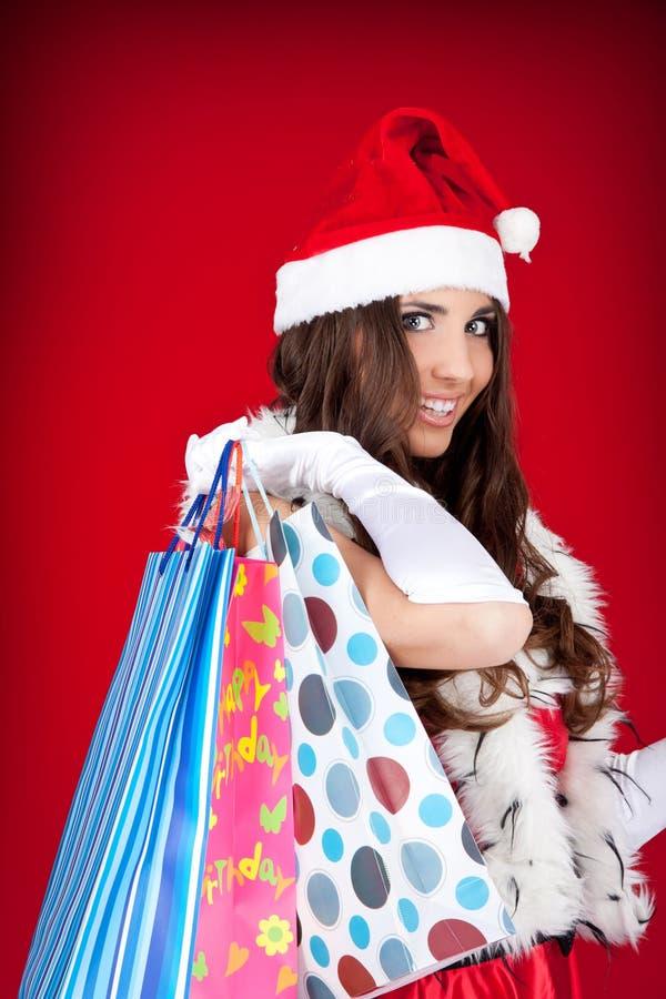 Ajudante de Santa na compra fotos de stock royalty free