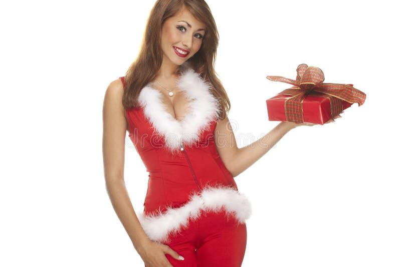 Ajudante de Santa no fundo branco imagens de stock royalty free