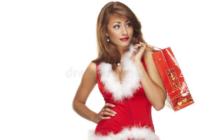 Ajudante de Santa no fundo branco imagens de stock