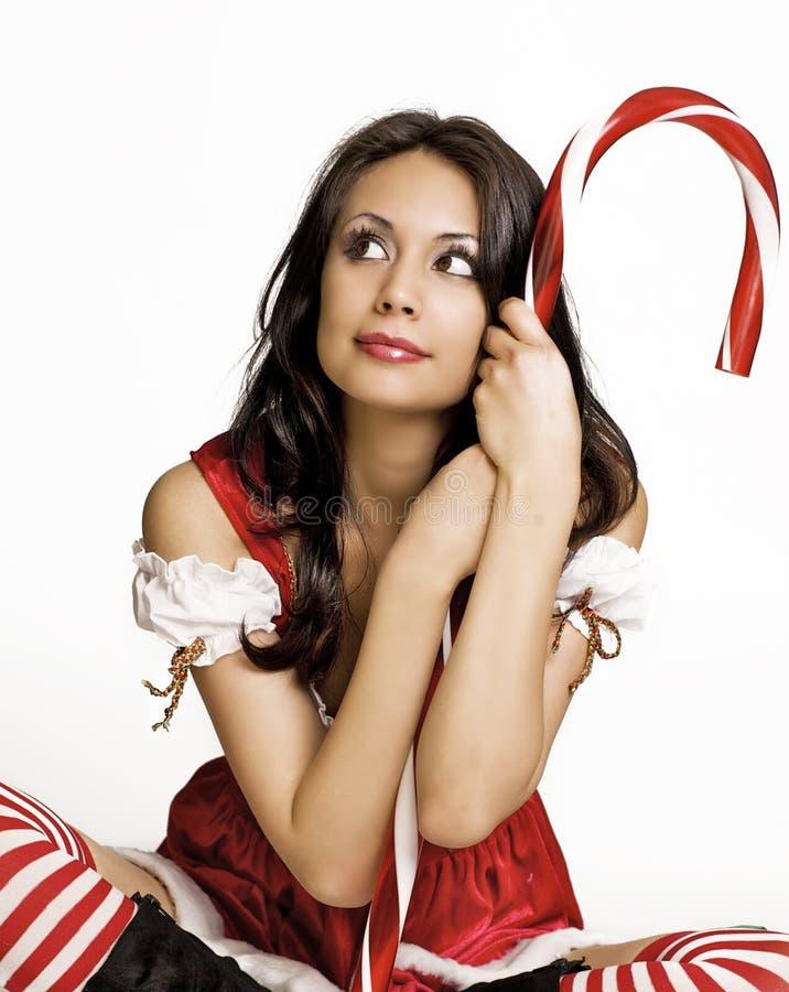 Ajudante pequeno de Santa 'sexy' bonita imagem de stock royalty free