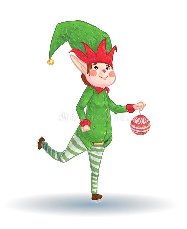Ajudante pequeno do duende que decora a árvore de Natal imagens de stock