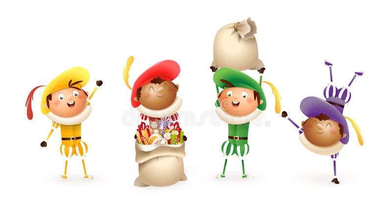 Ajudantes da São Nicolau ou do Sinterklaas - caráteres tradicionais holandeses coloridos bonitos felizes - isolado da ilustração  ilustração stock