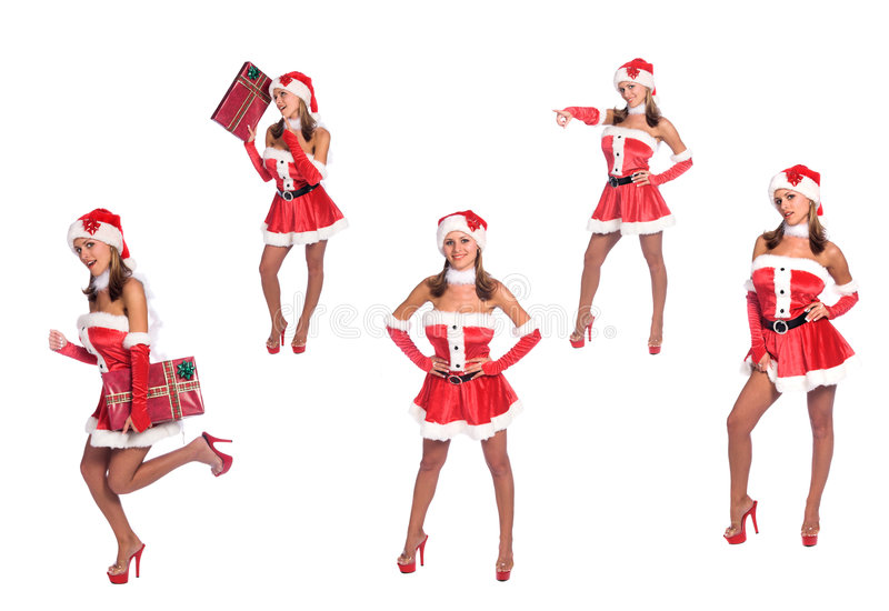 Ajudantes 'sexy' de Santa imagens de stock