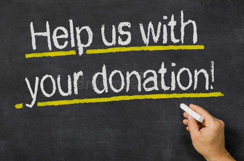 Ajude-nos com sua doação fotografia de stock