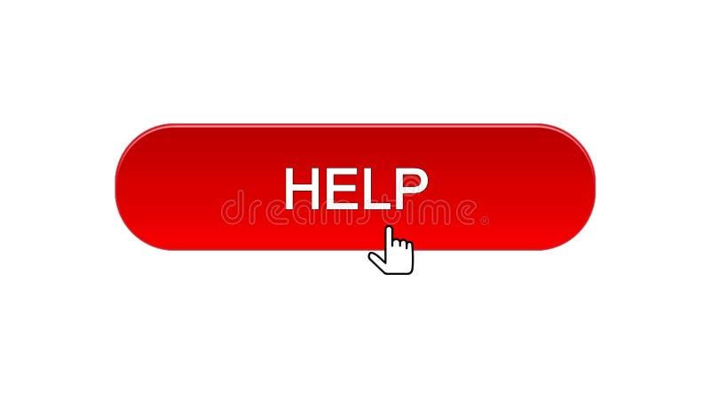 Ajude o botão da relação da Web clicado com cursor do rato, cor vermelha, apoie-o em linha ilustração do vetor