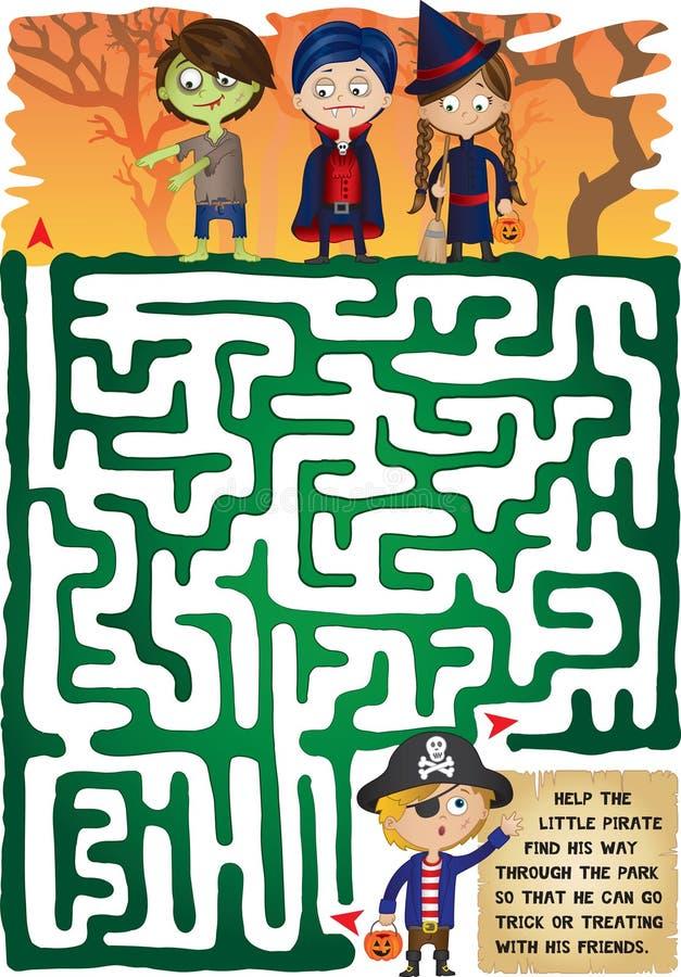 Labirinto do Dia das Bruxas para miúdos ilustração do vetor