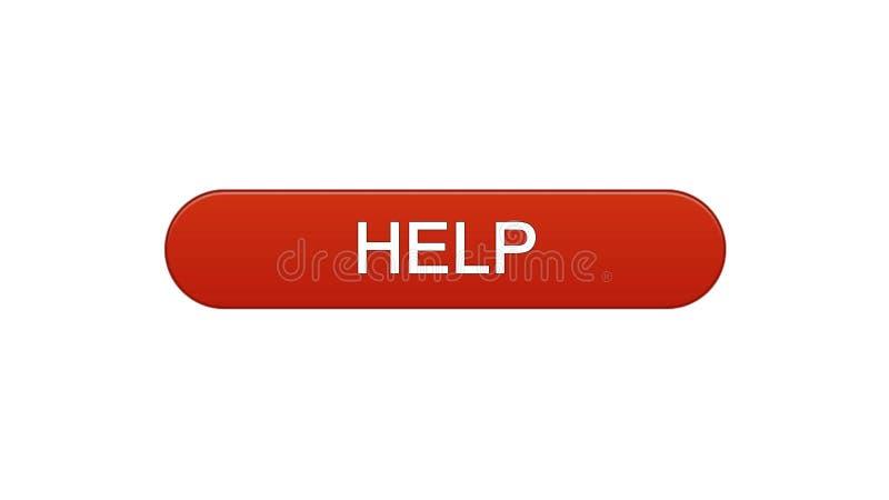 Ajude a relação da Web a abotoar a cor vermelha de vinho, apoio em linha, aplicação do auxílio ilustração do vetor